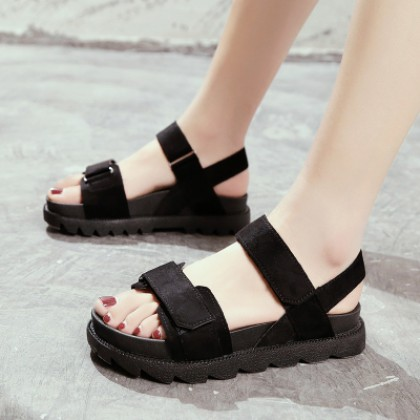 Women Korean Harajuku Style Thick Bottom Suede Strap Sandals Plus Size