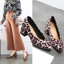 Women Korean Trend  Fashion Leopard Print Thick Bottom High Heels