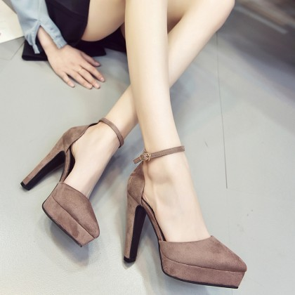 Women Korean Trend  Fashion Shallow Mouth Pointed Super High Heel Shoes