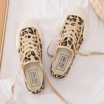 Women Korean Trend Harajuku Style Leopard Canvas Sneakers Plus Size