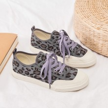 Women Korean Trend Harajuku Style Leopard Canvas Sneakers Plus Size