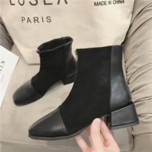 Women Korean Trend  Fashion Wild Square Head Retro Martin Boots