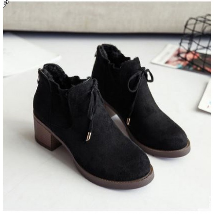 229dfca883a Women Korean Trend Fashion Casual Thick Heeled Velvet Boots