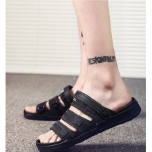 Men's Fashion Trend Drag Style Space Leather Slipper Sandals Plus Size