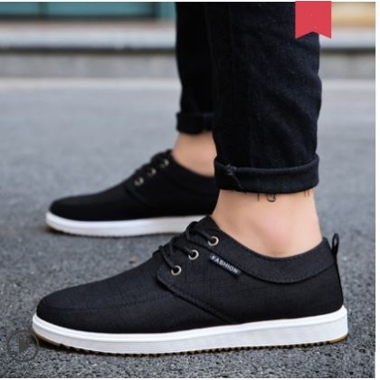 Men's Fashion Trend Wild Style Low Cut Lace Up Canvas Sneakers Plus Size