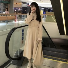 Women Korean Trend Fairy Long Sleeve Long Skirt Vintage Corduroy Dress