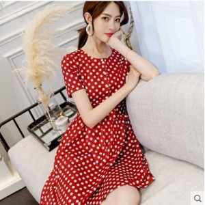 Women Korean Fashion Wild Style Short Sleeve Polka Dots Short Skirt Dress