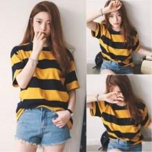 Women Korean Fashion Wild Style Short Sleeve Loose Black Stripe Shirt