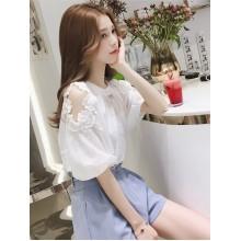 Women Korean Fashion Short Sleeve Chic Chiffon Fairy Strapless Top