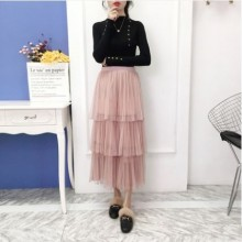 Women Korean Fashion Trend Layered Fairy Mesh Dress Skirt