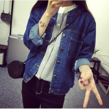 Women Korean Fashion Wild Style Casual Loose Long Sleeve Denim Jacket