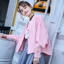 Women Korean Fashion Wild Style  Loose Long Sleeve Baseball Jacket