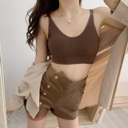 Women Korean Trend Seemless Cotton Camisole Pad Tube Underwear