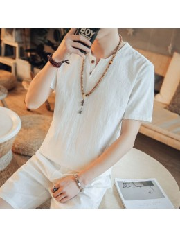 Men's Korean Youth Trend Fashion short Sleeve Chinese Collar  Cotton Shirt