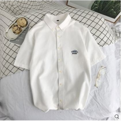 Men's Korean Youth Trend Short Sleeved Loose Cotton Shirt