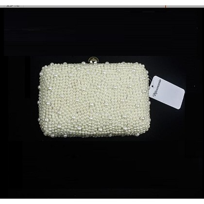 Women Korean Wild Fashion  Pearl Bridal Small Clutch Bag