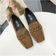Women Korean Trend Buckled Square Head Flat Peas Shoes