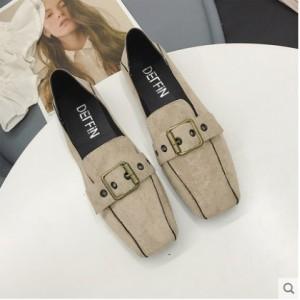 Women Korean Trend Buckled Square Head Flat Peas Shoes