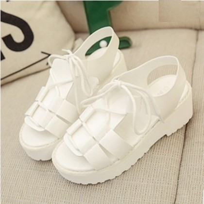 Women Korean Trend Fashion Muffin Bottom Lace Fairy Sandals