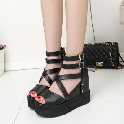 Women Korean Trend Fashion Black Muffin Bottom Fish Mouth  Sandals