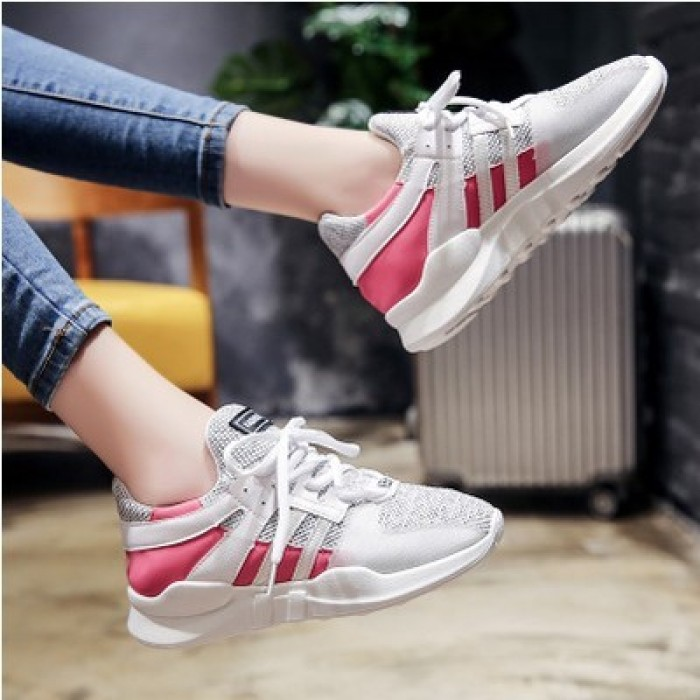 9ac87124d92a Women Korean Trend Flat Bottom Color Matching Sports Shoes Plus ...
