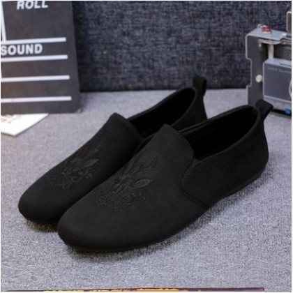 Men's Fashion Trend Fashionable Deer Black Casual Lazy Peas Shoes