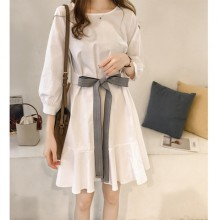 Women Korean Fashion High  Bow Waist  Short Skirt Dress