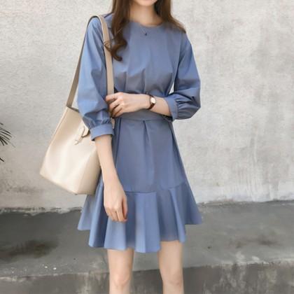 Women Korean Fashion High  Bow Waist  Short Skirt Dress