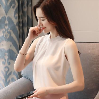Women Korean Fashion Loose Chiffon Stand Collar Fairy Sleeveless Top