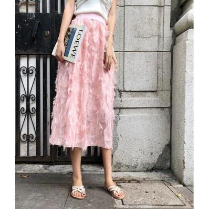 Women Korean Fashion Trend Long Tassel Casual Fairy Skirt