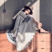 Women Korean Fashion Loose Retro Long Tassel Shawl and Cardigan