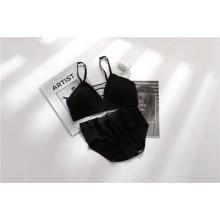 Women Korean Fashion Sexy Back Tube Top Cotton Underwear Set