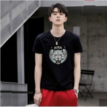 Men's Korean Youth Trend Tiger Short Sleeved Round Neck Regular Shirt