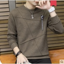 Men's Korean Youth Fashion Geometric Long Sleeved Round Neck Sweater