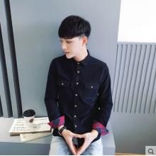 Men's Korean Youth Fashion Long Sleeved Wild Style Slim Casual Shirt