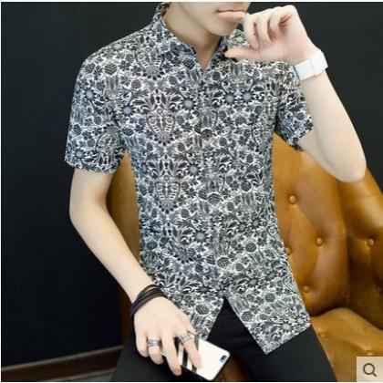 Men's Korean Youth Fashion Ethnic Flower Black Short Sleeve Shirt