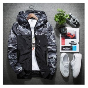 Men's Korean Youth Fashion Camouflage Long Sleeved Hooded Sport Jacket