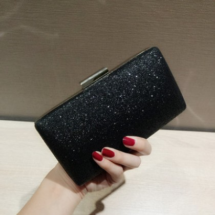 Women Korean Fashion Trend Evening Sequins Chain Shoulder Clutch Bag