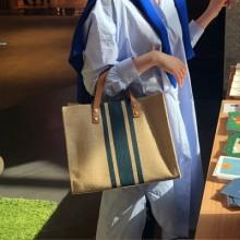 Women Korean Fashion Trend Simple Square Canvas Stripes Shoulder Bag