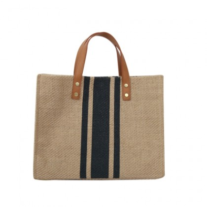 Women Korean Fashion Trend Simple Square Canvas Stripes Shoulder Bag