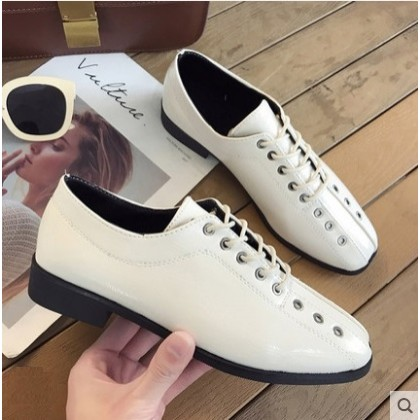 Women Korean Trend  Lace Up Wild Style Retro Loafers Casual Shoes
