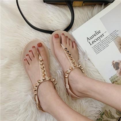 Women Korean Trend  Fashion Roman Rivets Toes Beach Sandals
