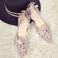 Women Korean Fashion Wild Style Pointed Flower Casual Shoes
