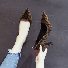 Women Korean Fashion Wild Leopard Pointed Stiletto High Heel Shoes