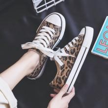Women Korean Trend  Harajuku Style Leopard Spot Canvas Sneakers
