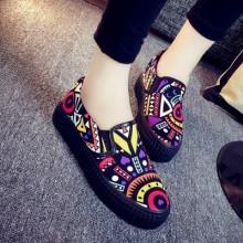 Women Korean Fashion Trend  Graffiti Flower Muffin Canvas Shoes