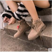 Women Korean Fashion Harajuku Style  Suede Flat Martin Boots