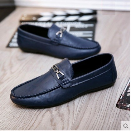 Men's Fashion Trend Round Head Buckle Leather Peas Shoes