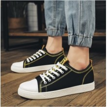 Men's Fashion Trend Fashion Lace Up Black Canvas Sneakers