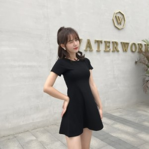 Women Korean Fashion Trend Cotton Short Sleeve Dress